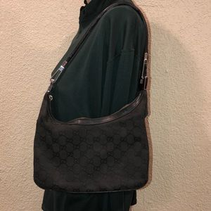 Gucci Vintage Black GG Canvas shoulder bag